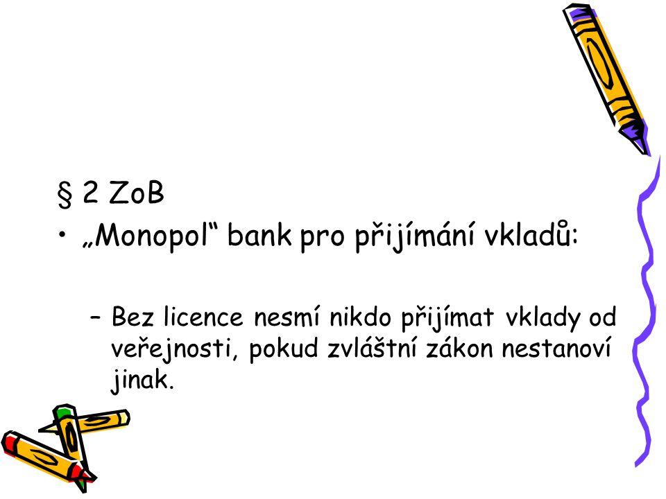 """""""Monopol bank pro přijímání vkladů:"""