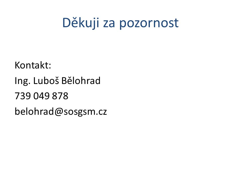 Děkuji za pozornost Kontakt: Ing. Luboš Bělohrad 739 049 878 belohrad@sosgsm.cz