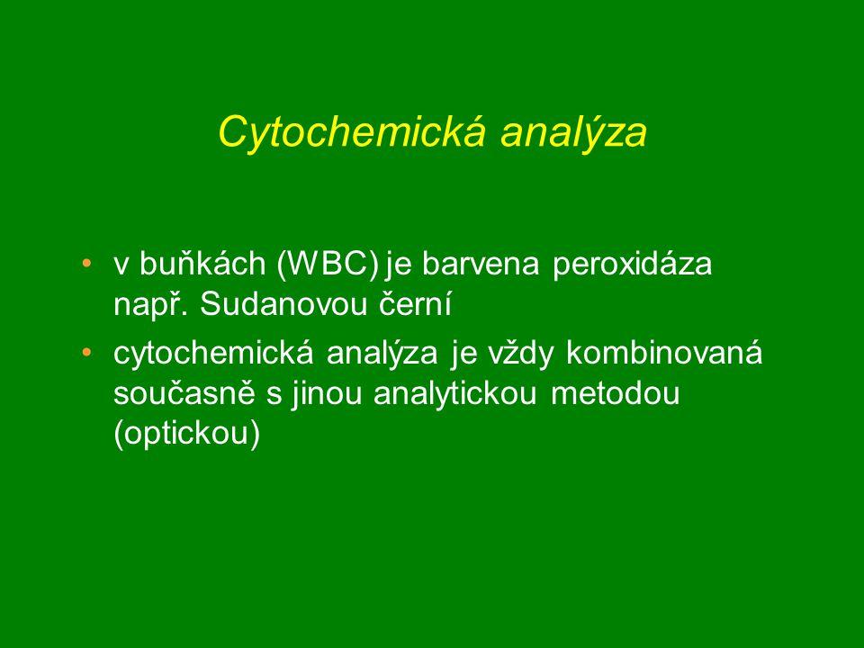 Cytochemická analýza v buňkách (WBC) je barvena peroxidáza např. Sudanovou černí.