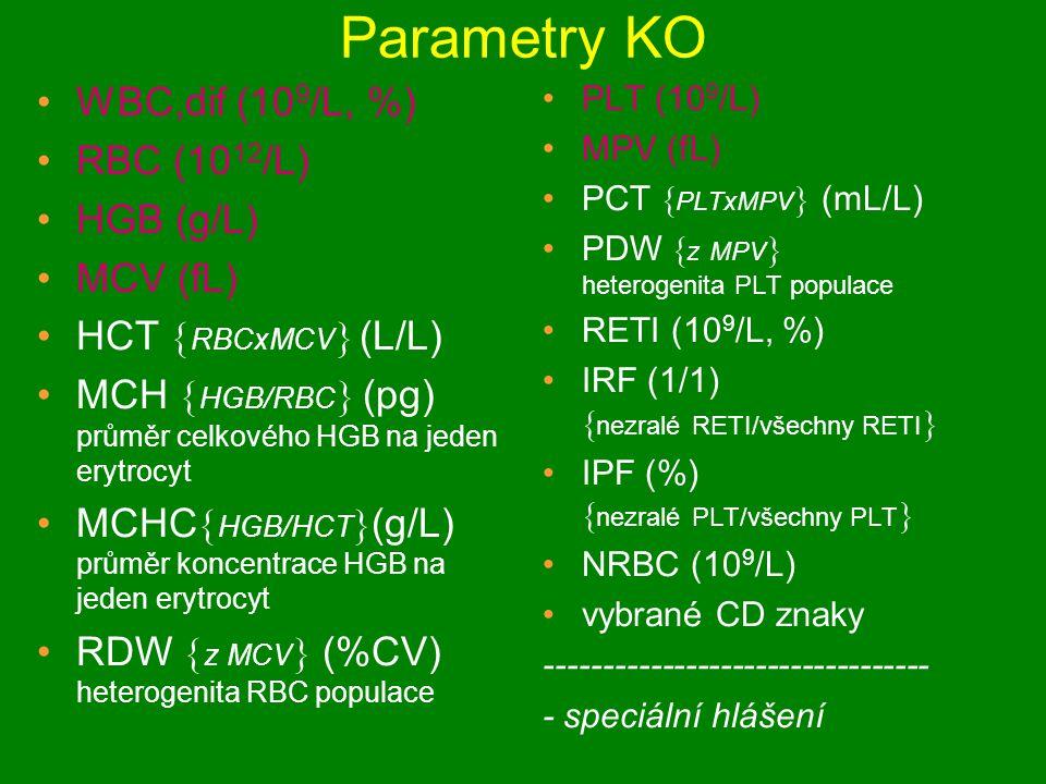 Parametry KO WBC,dif (109/L, %) RBC (1012/L) HGB (g/L) MCV (fL)
