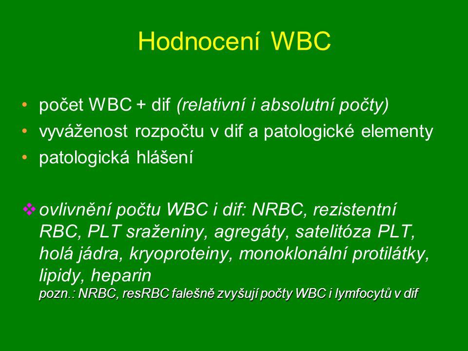 Hodnocení WBC počet WBC + dif (relativní i absolutní počty)