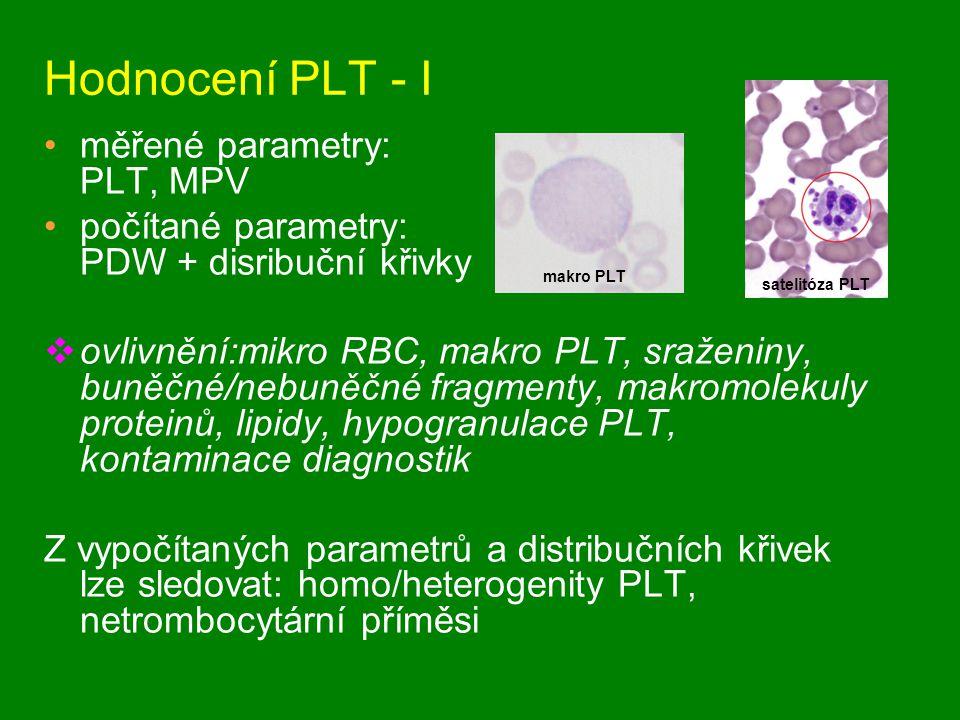 Hodnocení PLT - I měřené parametry: PLT, MPV