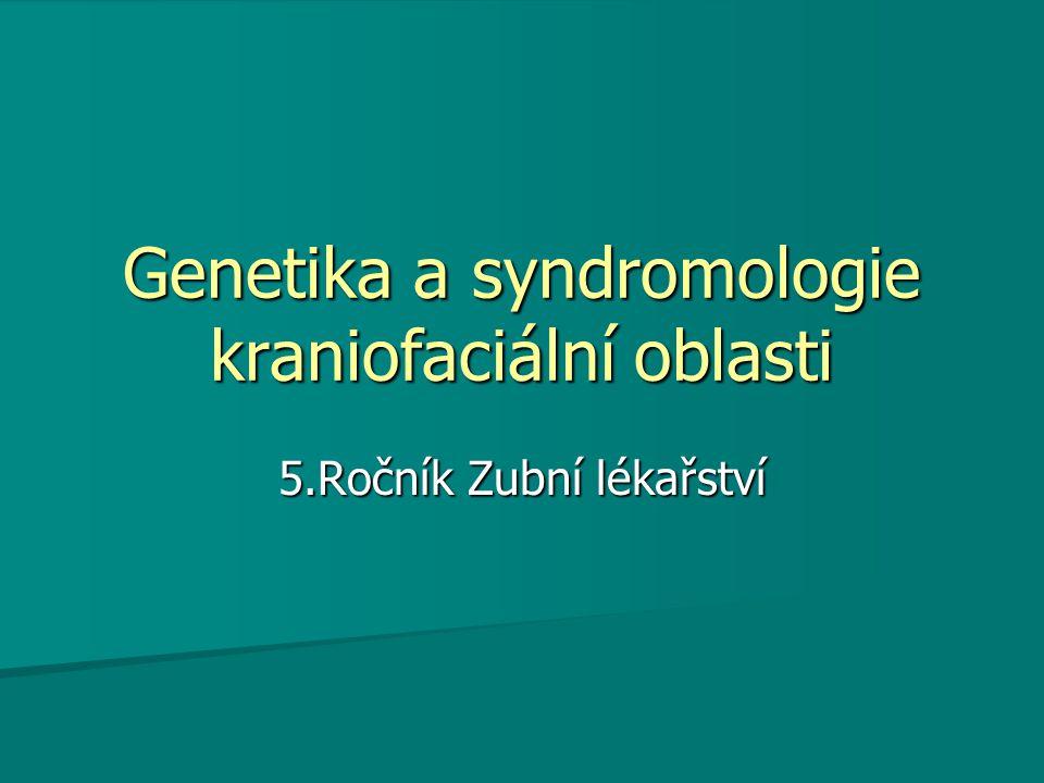 Genetika a syndromologie kraniofaciální oblasti