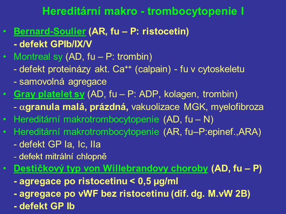 Hereditární makro - trombocytopenie I