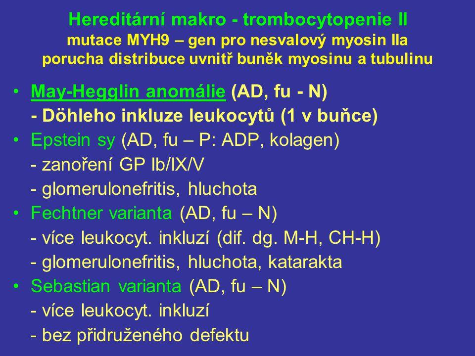 Hereditární makro - trombocytopenie II mutace MYH9 – gen pro nesvalový myosin IIa porucha distribuce uvnitř buněk myosinu a tubulinu