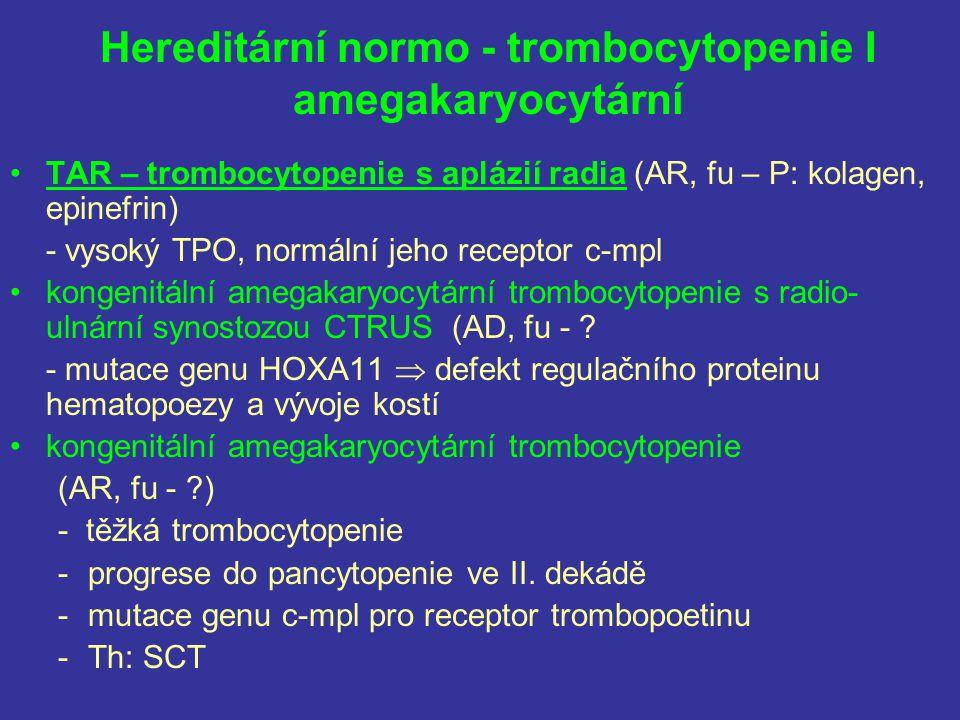 Hereditární normo - trombocytopenie I amegakaryocytární