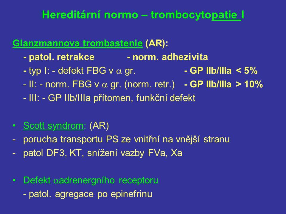 Hereditární normo – trombocytopatie I