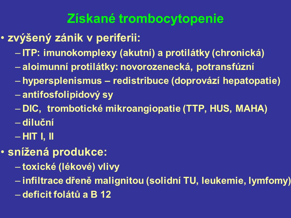 Získané trombocytopenie
