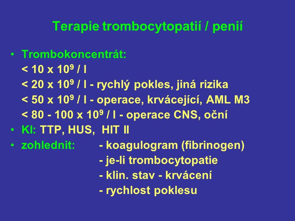 Terapie trombocytopatií / penií