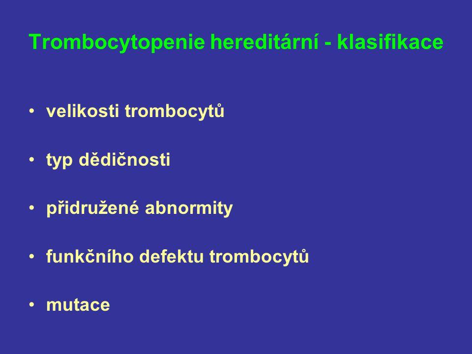 Trombocytopenie hereditární - klasifikace