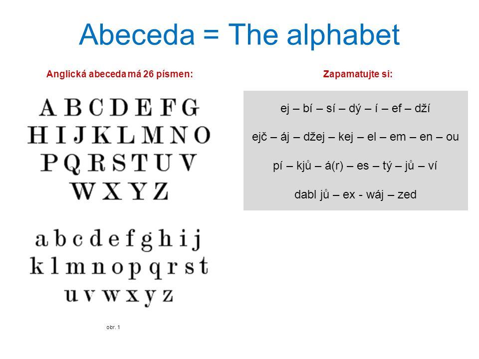 Anglická abeceda má 26 písmen: