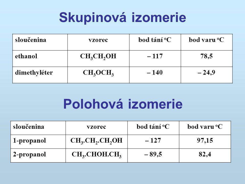 Skupinová izomerie Polohová izomerie
