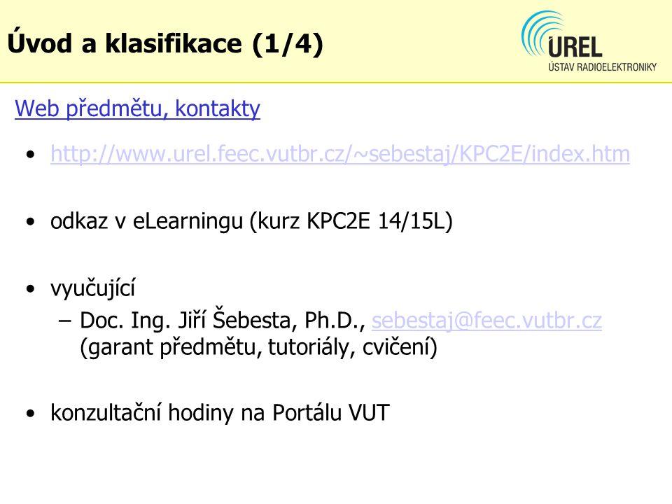 Úvod a klasifikace (1/4) Web předmětu, kontakty