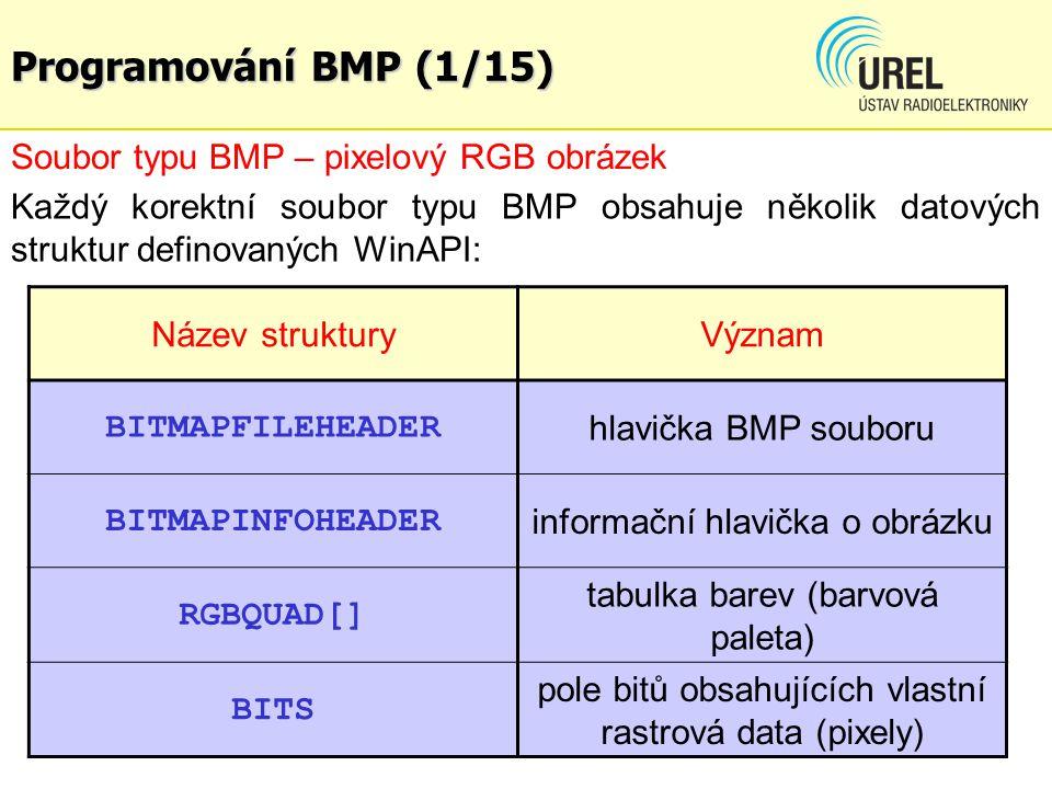 Programování BMP (1/15) Soubor typu BMP – pixelový RGB obrázek