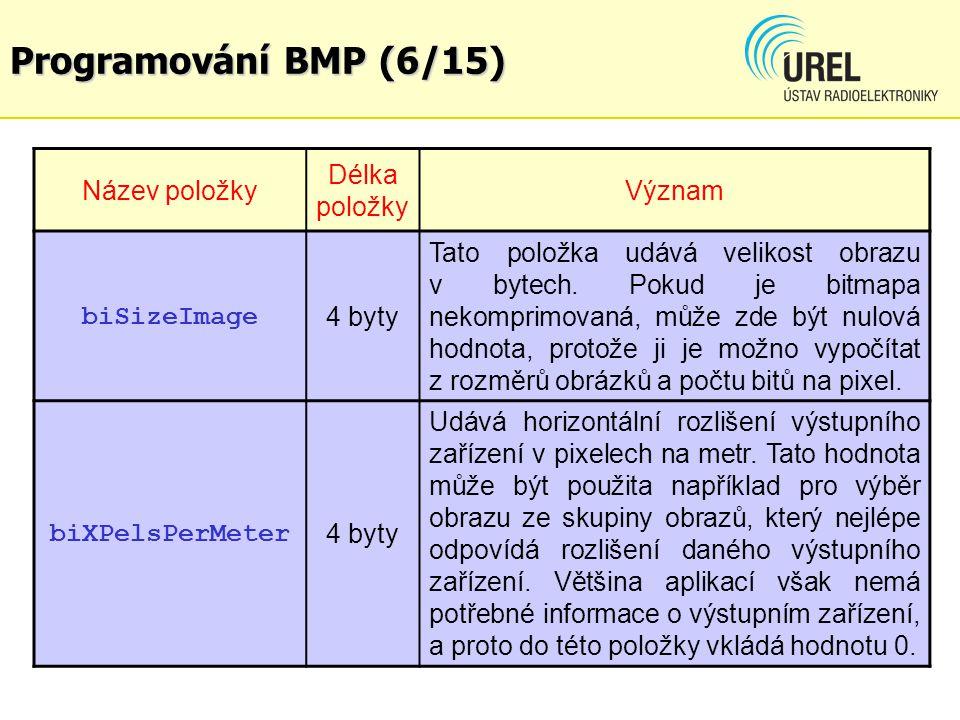 Programování BMP (6/15) Název položky Délka položky Význam biSizeImage