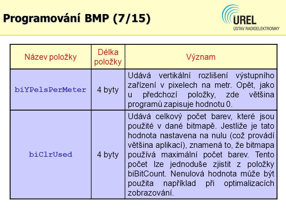 Programování BMP (7/15) Název položky Délka položky Význam