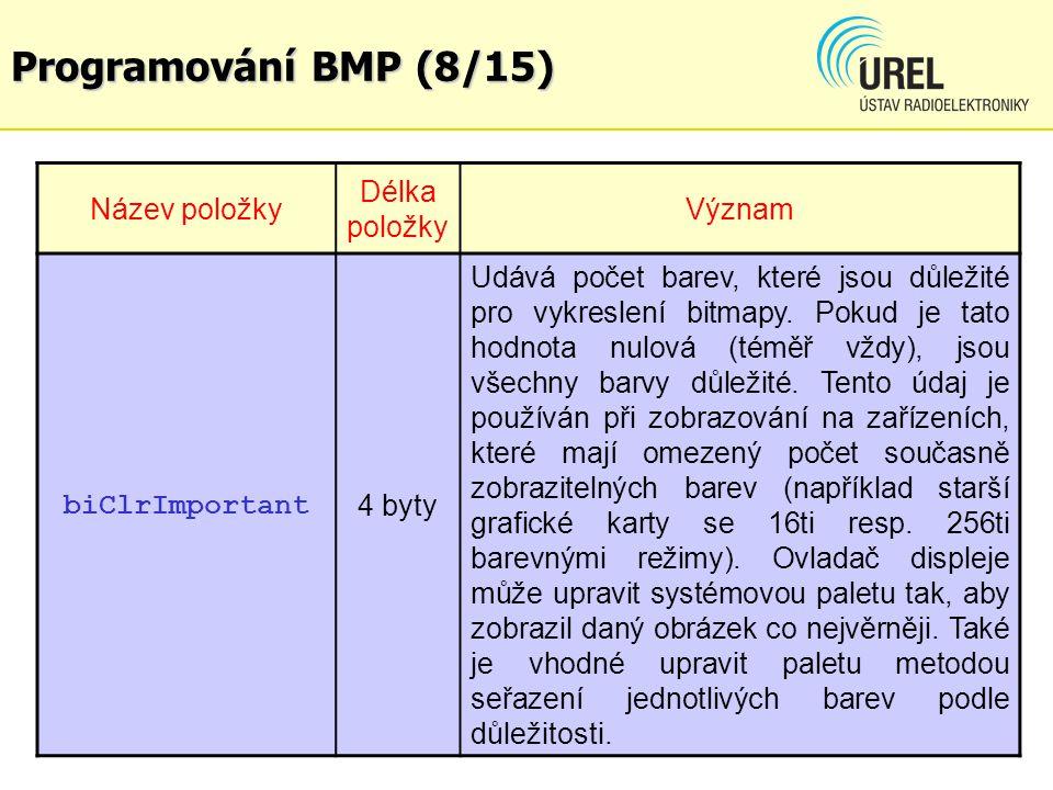 Programování BMP (8/15) Název položky Délka položky Význam