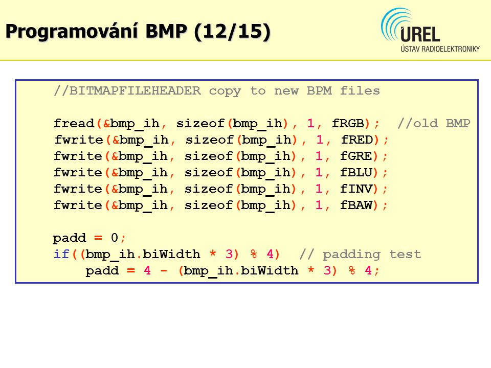 Programování BMP (12/15) //BITMAPFILEHEADER copy to new BPM files