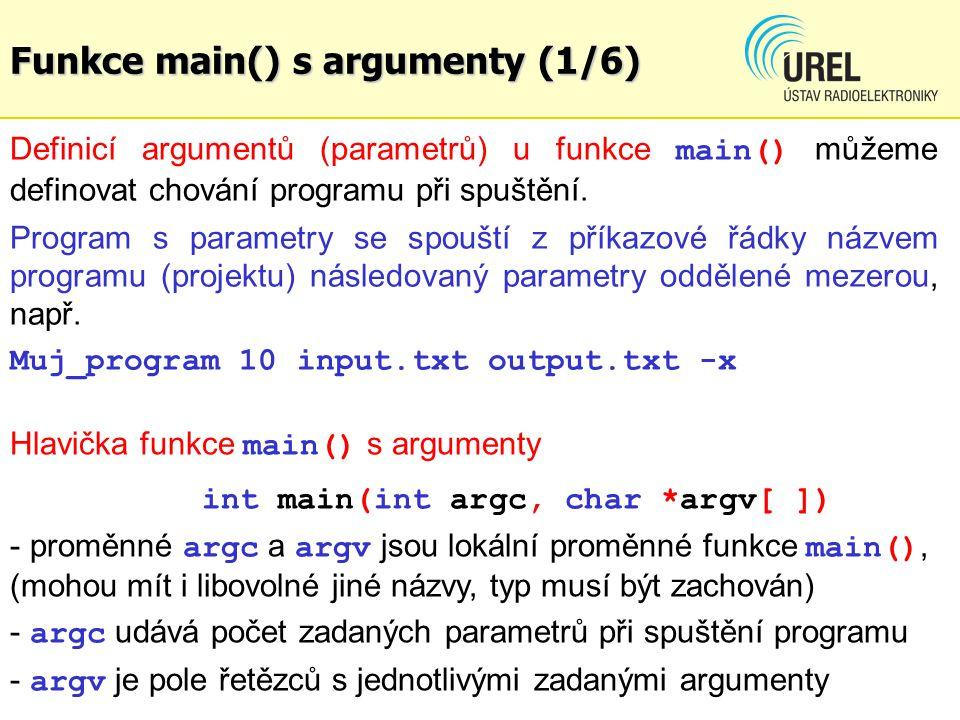 Funkce main() s argumenty (1/6)