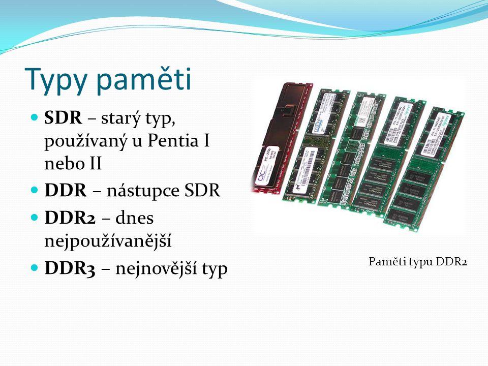 Typy paměti SDR – starý typ, používaný u Pentia I nebo II