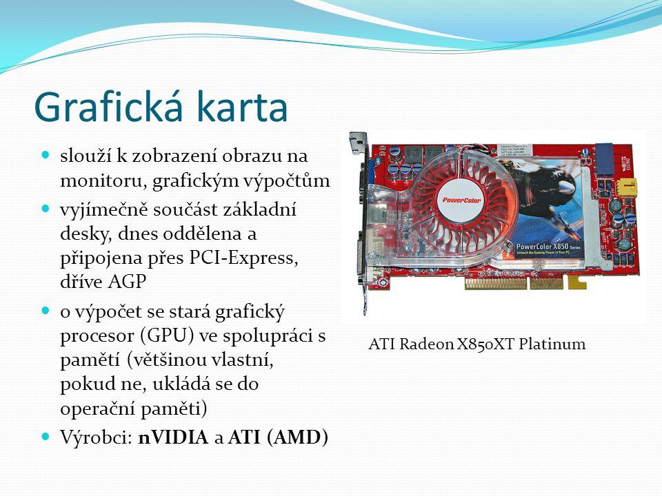 Grafická karta slouží k zobrazení obrazu na monitoru, grafickým výpočtům.