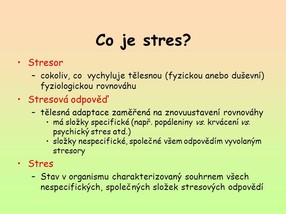 Co je stres Stresor Stresová odpověď Stres