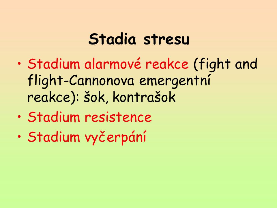 Stadia stresu Stadium alarmové reakce (fight and flight-Cannonova emergentní reakce): šok, kontrašok.