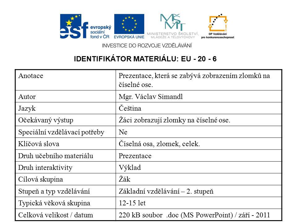 IDENTIFIKÁTOR MATERIÁLU: EU - 20 - 6