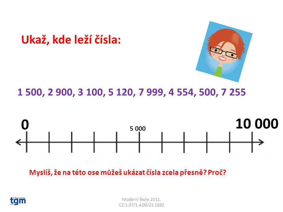 Ukaž, kde leží čísla: 1 500, 2 900, 3 100, 5 120, 7 999, 4 554, 500, 7 255. 10 000. 5 000.