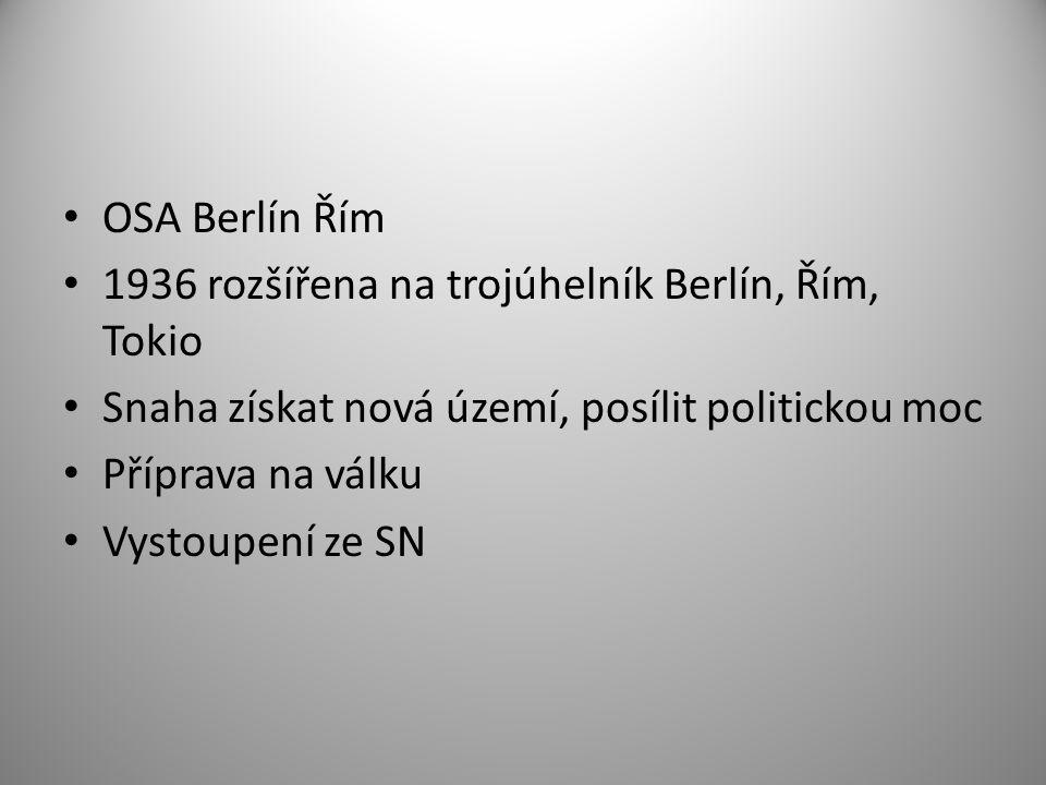 OSA Berlín Řím 1936 rozšířena na trojúhelník Berlín, Řím, Tokio. Snaha získat nová území, posílit politickou moc.