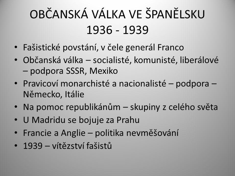 OBČANSKÁ VÁLKA VE ŠPANĚLSKU 1936 - 1939