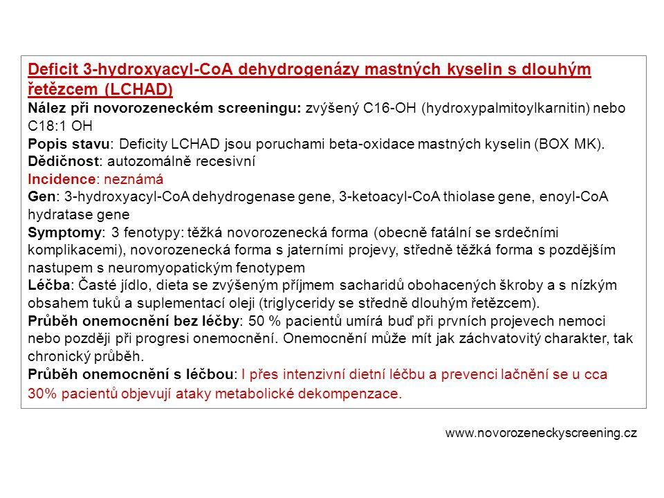 Deficit 3-hydroxyacyl-CoA dehydrogenázy mastných kyselin s dlouhým řetězcem (LCHAD)
