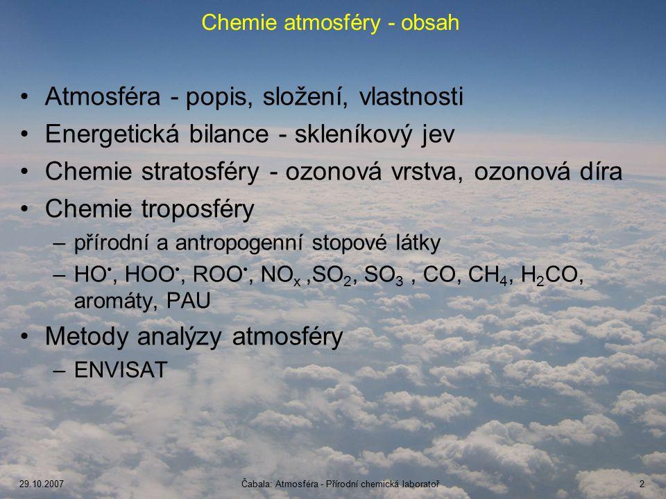 Chemie atmosféry - obsah