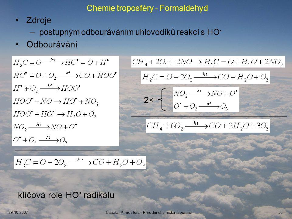 Chemie troposféry - Formaldehyd