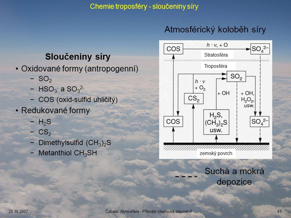 Chemie troposféry - sloučeniny síry