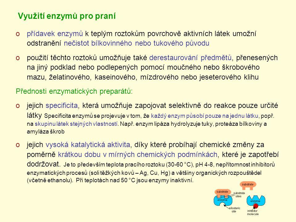 Využití enzymů pro praní