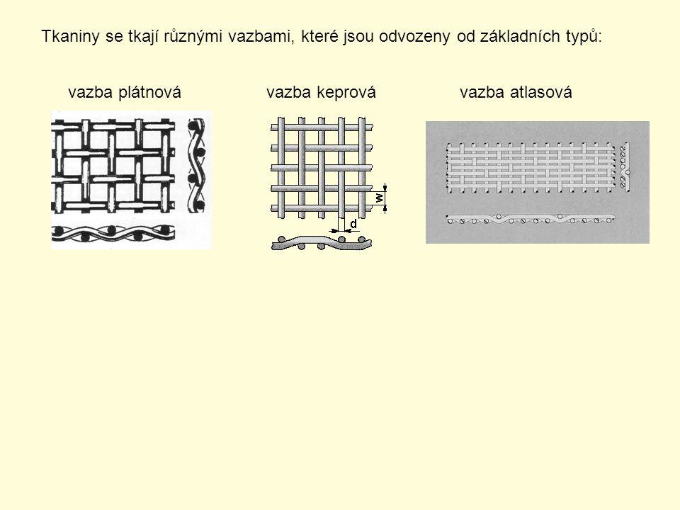 Tkaniny se tkají různými vazbami, které jsou odvozeny od základních typů: