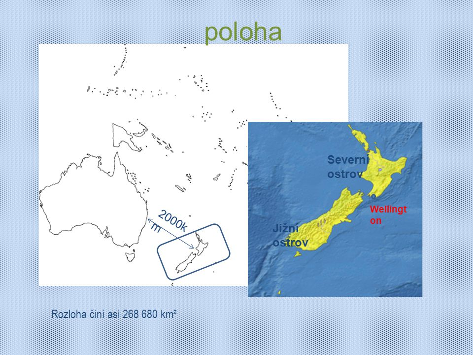 poloha Severní ostrov 2000km Jižní ostrov Rozloha činí asi 268 680 km²