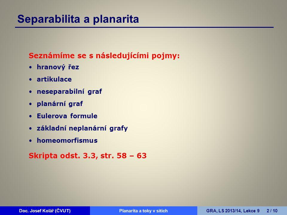 Separabilita a planarita