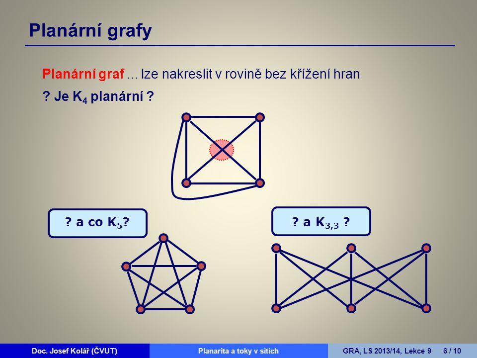 Planární grafy Planární graf ... lze nakreslit v rovině bez křížení hran.