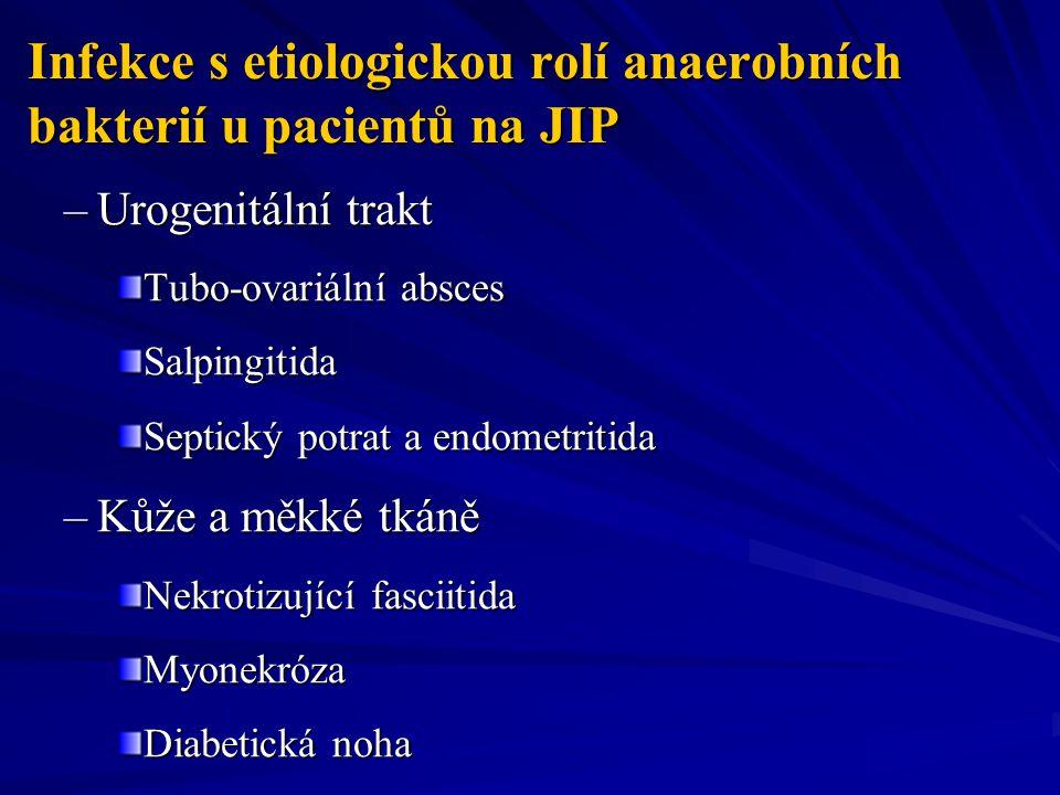 Infekce s etiologickou rolí anaerobních bakterií u pacientů na JIP