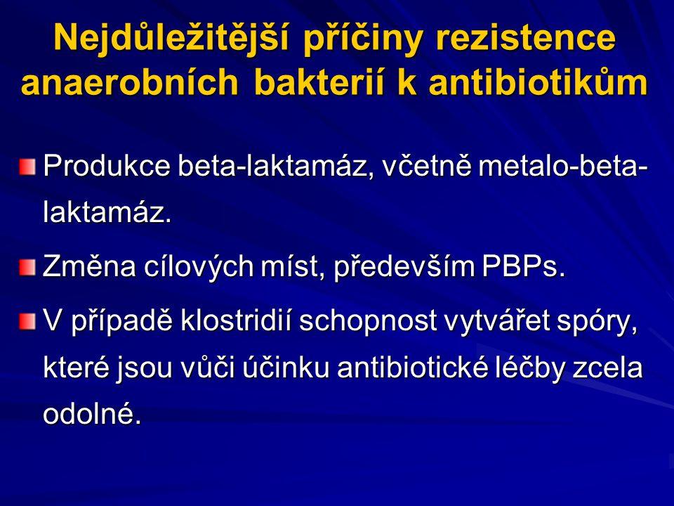 Nejdůležitější příčiny rezistence anaerobních bakterií k antibiotikům