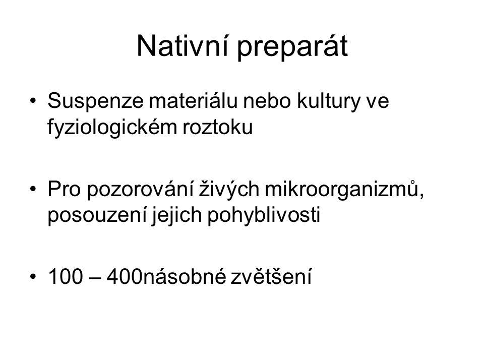Nativní preparát Suspenze materiálu nebo kultury ve fyziologickém roztoku. Pro pozorování živých mikroorganizmů, posouzení jejich pohyblivosti.