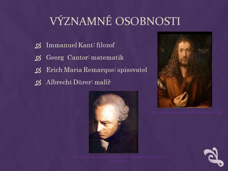 VÝZNAMNÉ OSOBNOSTI Immanuel Kant: filozof Georg Cantor: matematik
