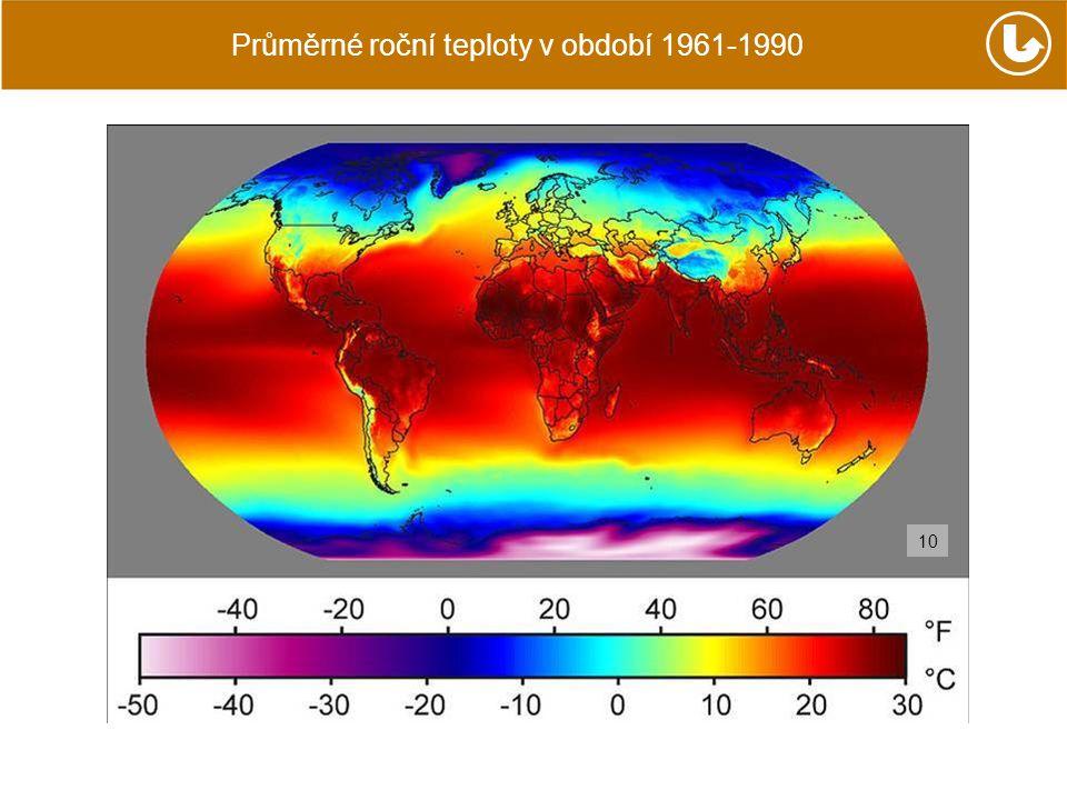 Průměrné roční teploty v období 1961-1990