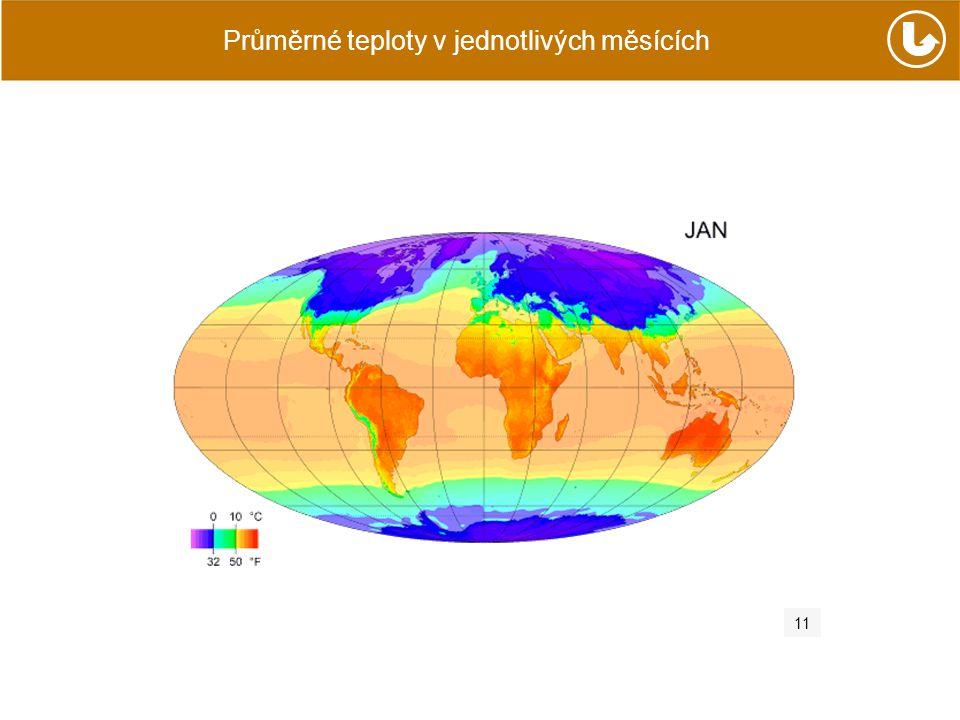 Průměrné teploty v jednotlivých měsících