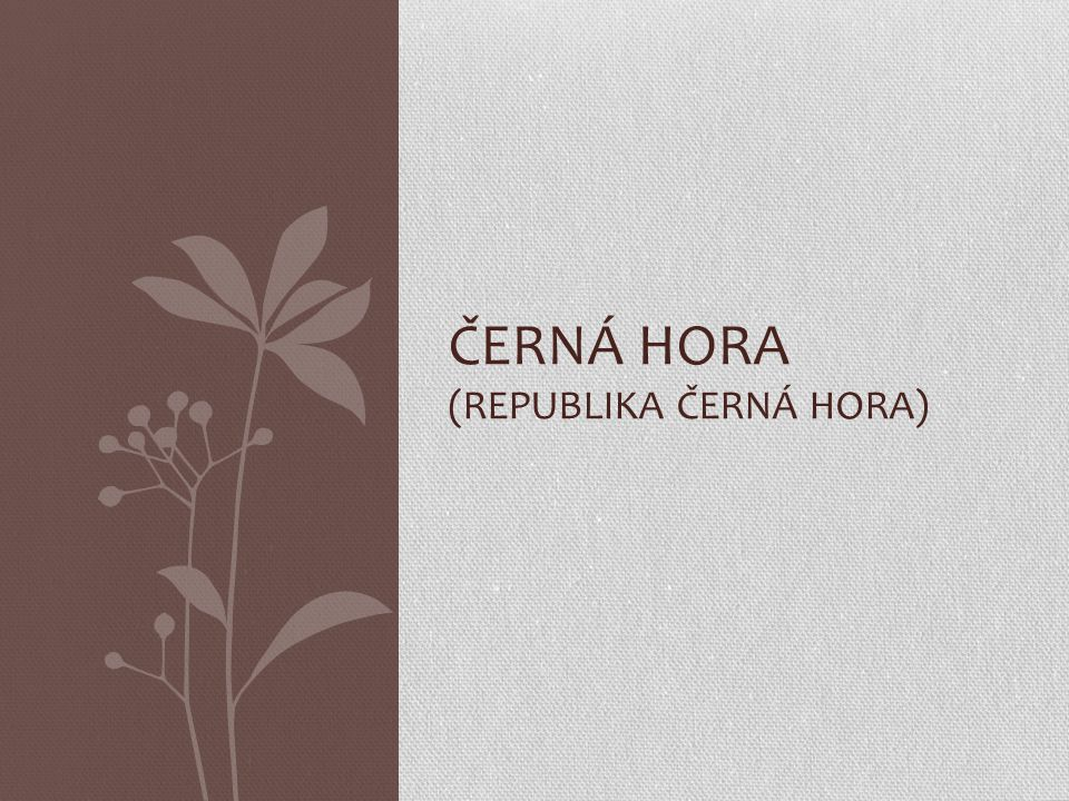 ČERNÁ HORA (republika Černá hora)
