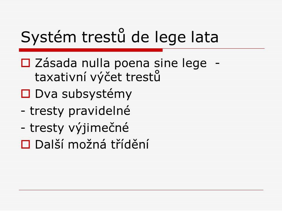 Systém trestů de lege lata