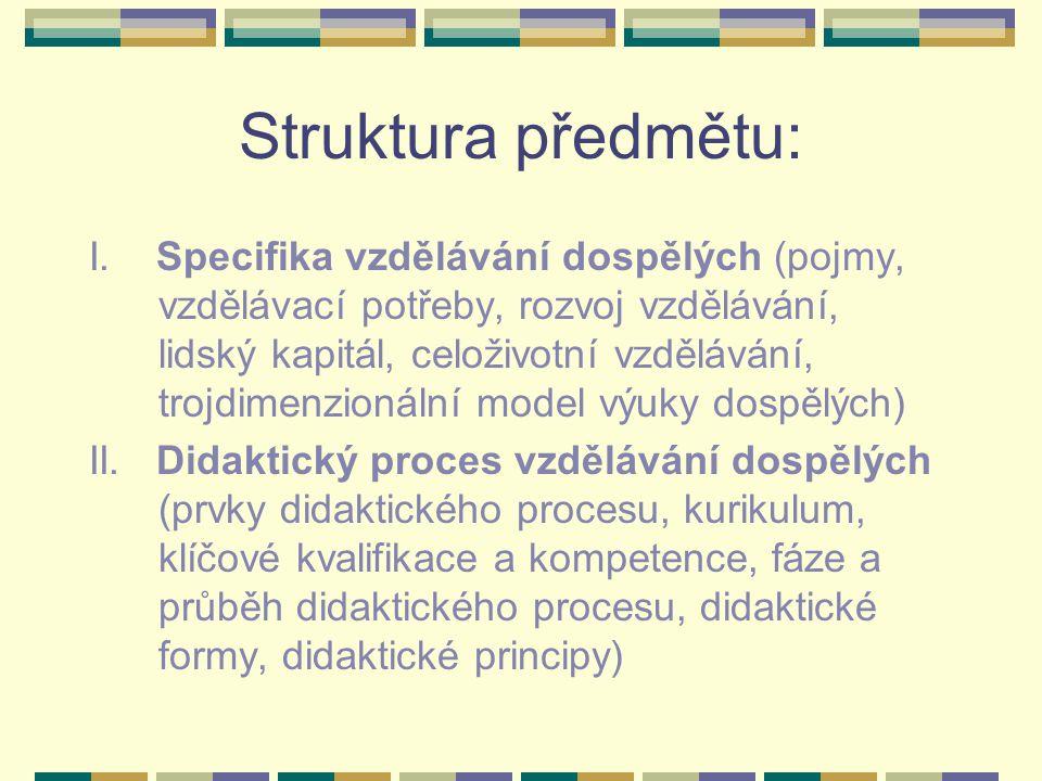 Struktura předmětu: