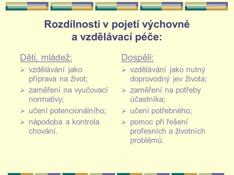 Rozdílnosti v pojetí výchovné a vzdělávací péče: